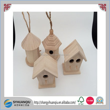 Small Unfinished Natural Wood Wooden Bird House