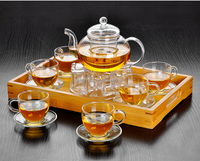 glass teapot set:one teapot+one candle holder+six glass tea cups