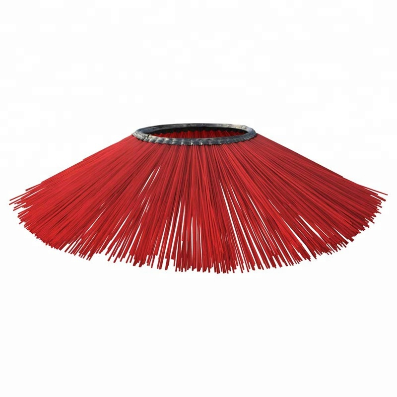China poly wafer steel wire round road sweeper brush China sweep cleaning brush for tractor or airport snow brushes