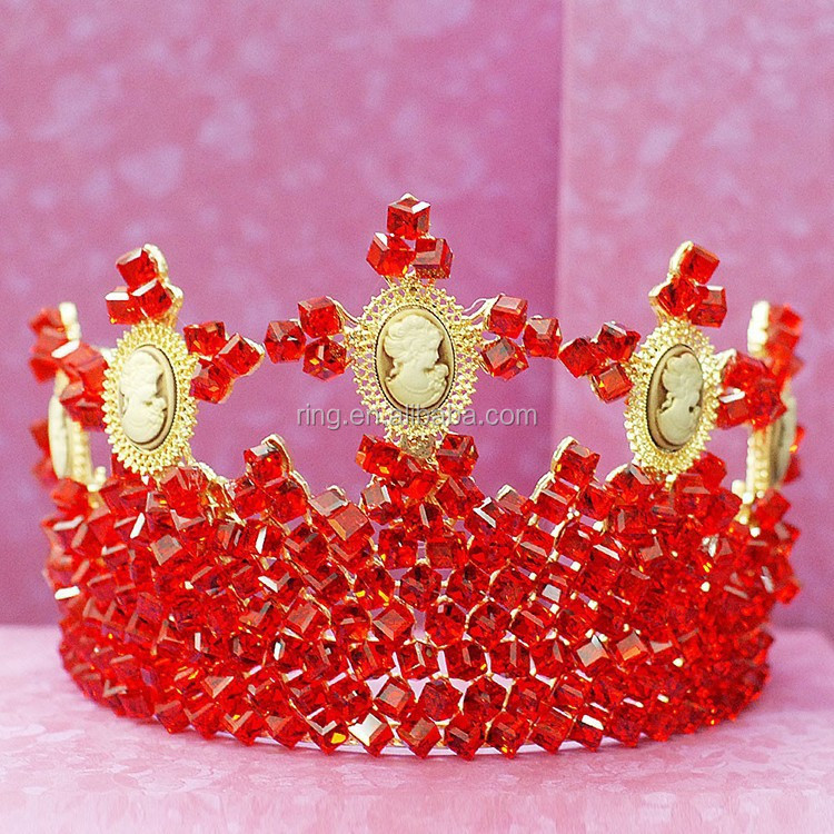 Gorgeous Crystal Red Stone Gold Plated Huge Pageant Wedding Bridal Crown Rhinestone Crown Tiara