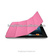 Trendy 3 -folder pink PU leather case for ipad air with stand function
