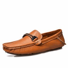 Shenn Men's Driving Car Moccasins Buckle Leather Loafers