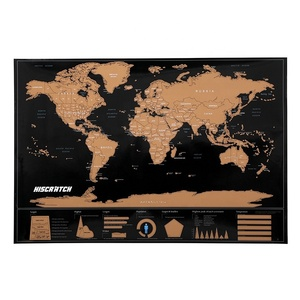 2019 Large Travel scratch off world map printing with US States and Canada State