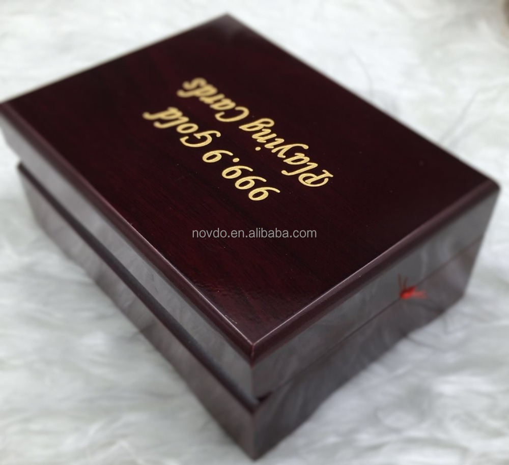 Gold Foil Plated Poker Playing Card Wooden Box For Gifts
