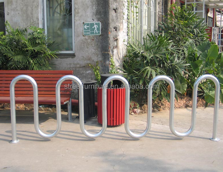 Seamless steel pipe 5 loop street bike racks parking bike carrier
