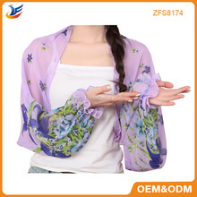 2015 fashion design polyester chiffon summer scarves with sleeves