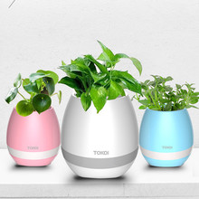 Smart Festival Gift Flower Pot,Play Piano on a Real Plant, LED Colorful Night Light Touch Music Plant Lamp Rechargeable Wireless