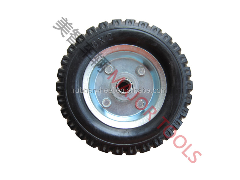 "6"" solid rubber toy wheels with metal rim 6X2"