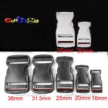Black/White Webbing Plastic Flat Side Release Buckle for Backpack Straps #FLC010-A/B/C/CW/DB/DW/E