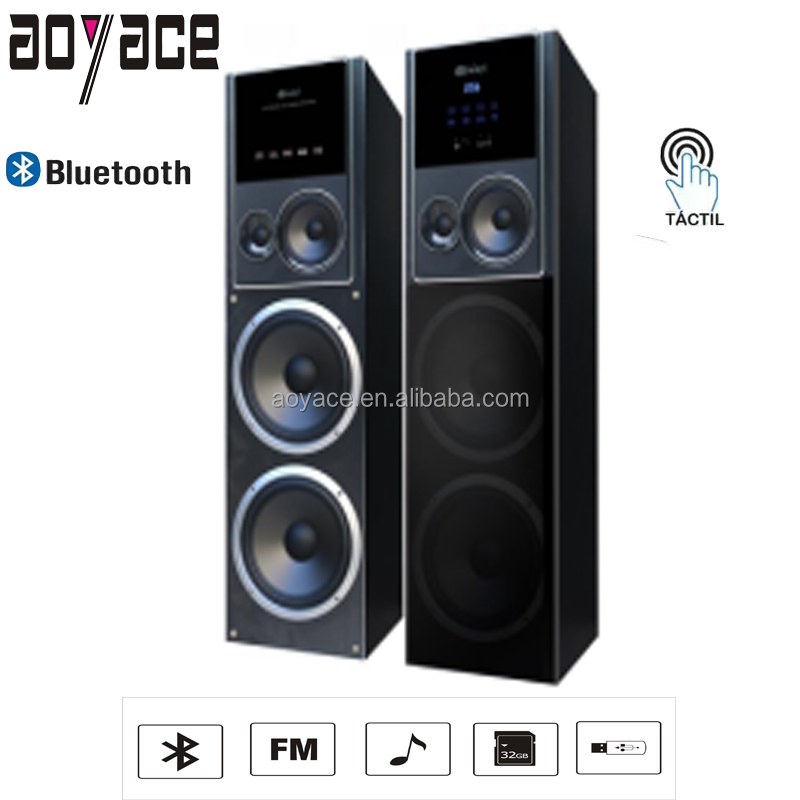 SA-10-5A new 2.0 Ch powered tower active speaker with FM USB and touch LED screen control