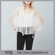 New model blouse white sheer fabric long sleeve elastic cuffs tied round neck sheer striped blouse for ladies