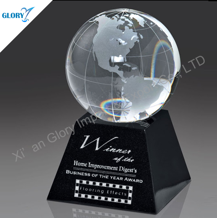Wholesale world map crystal globe for business gift