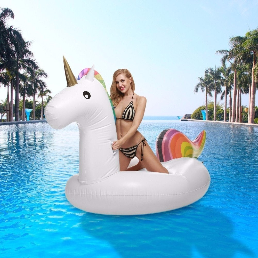 Roll over image to zoom in Inflatable Unicorn Pool Float 2.75M Giant Swan Inflatable Swimming Pool Toys