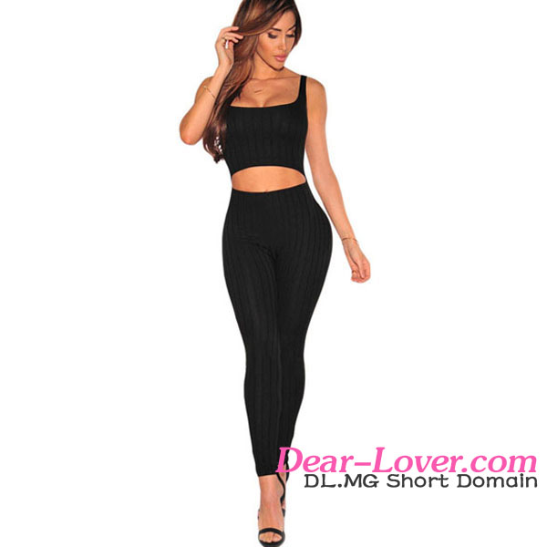 2016 High Quality Women Yoga Wear Black Ribbed Cut Out Tank Sexy Sport Jumpsuit