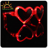 Custom Promotional heart shaped fashionable flashing led sunglasses, lovely led eyeglasses glow in the dark