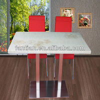 China modern square metal base white 4 people marble dining table FT-CZ008
