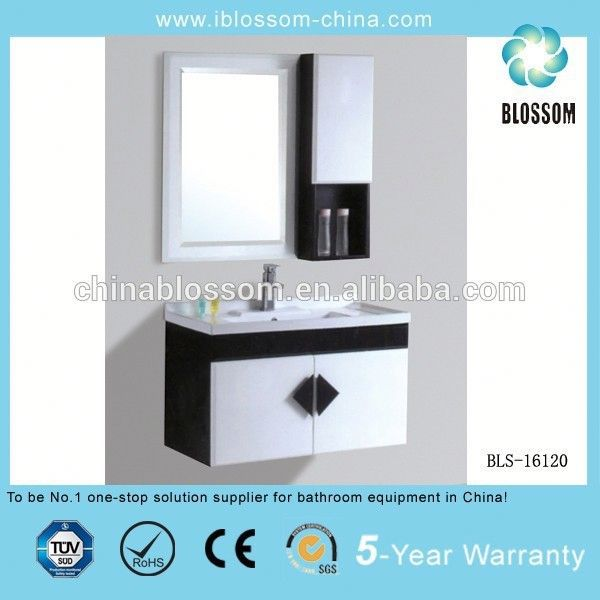 wall hanging portable pvc bathroom cabinet mirror plywood bathroom cabinet