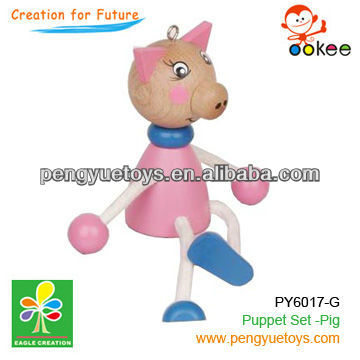 wooden pink pig fantoche and puppetry
