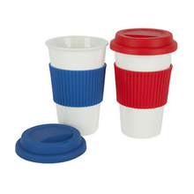12OZ no handle coffee mug travel with silicone lids and sleeve