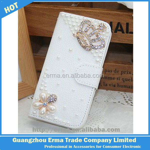 wholesale alibaba Handmade Luxury Noble Crown Diamond bling girl case wallet leather phone case for iPhone 5 5S