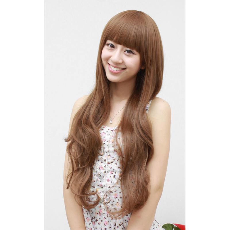 Get Quotations · New Korean Lolita Dark Flaxen Yellow Dark Brown Black Wig  Long Curly Wave Hair Lady Womens 5d7d664fd2