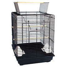 1901-foshan black big steel iron round bird cage for parrot pet cage