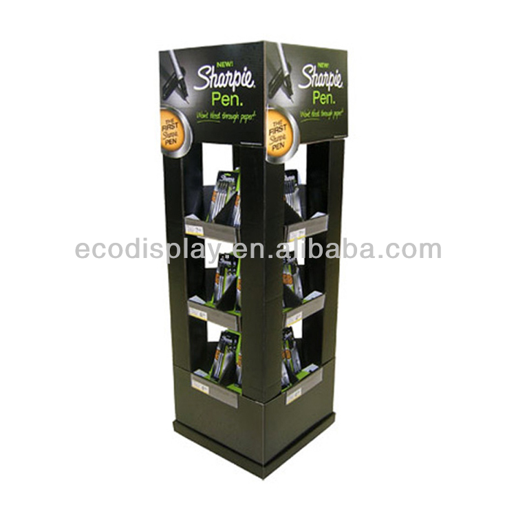 4 Side Corrugated Supermarket Display Rack for Stationery / Pen