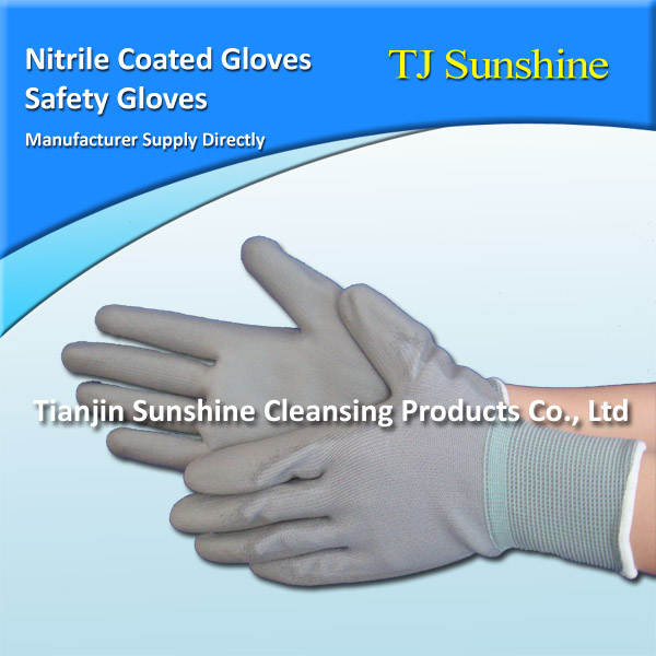 Nylon with Blue Hawk Nitrile Coated Gloves