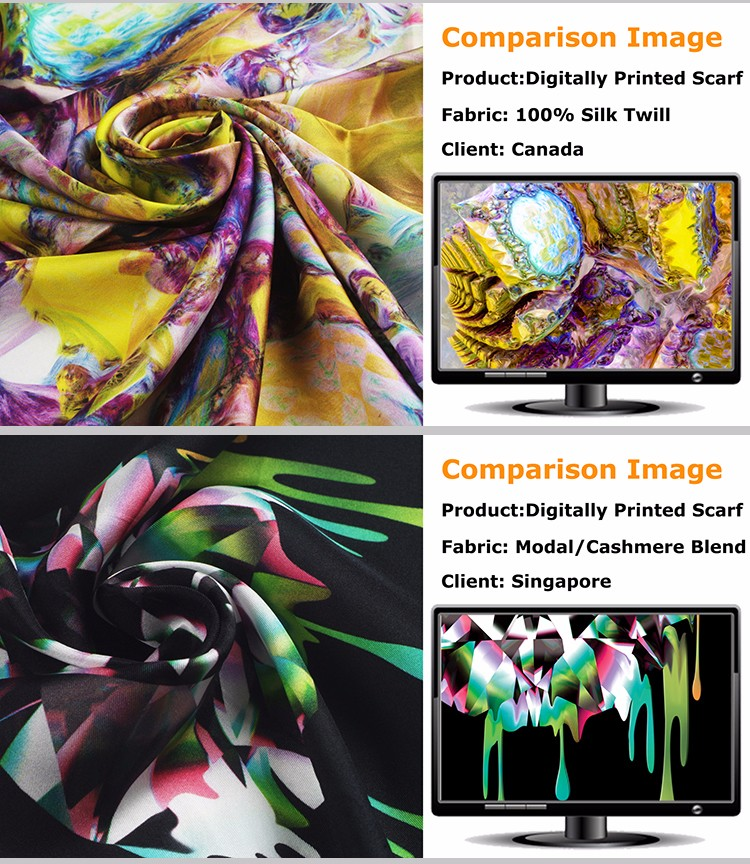 Newest digital print silk crepe fabric HF5