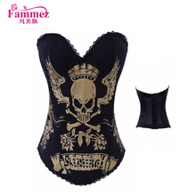 Latest skull pattern 2269 steel boned corset adult open hot sexy corset xxl movie for sale