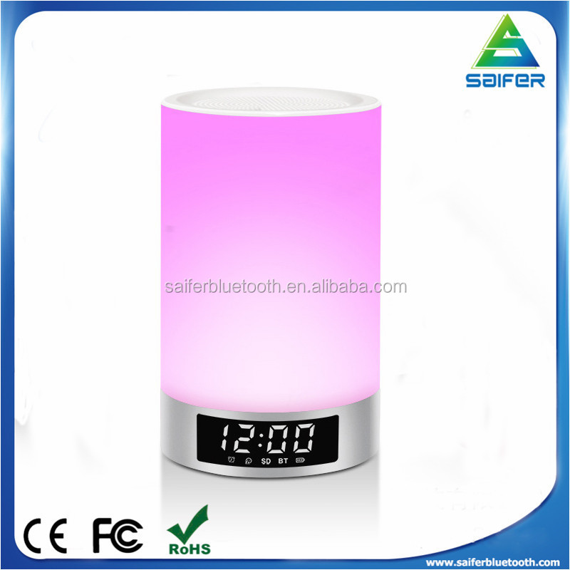 L5 Wireless Portable Bluetooth Speaker with Alarm Clock and Touch Sensor Smart Light LED Bulb Lamp Support TF Card Music Playing