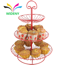 3 Tier Designer Home Kitchen Cake Stand Metal Wire Fruit Basket With Net Cover