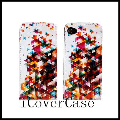 For iphone 4 4s prints leather flip case cover with 7 kinds