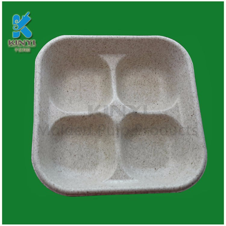 New Eco-friendly biodegradable recycle paper fiber food tray custom