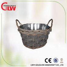 willow/wicker handmade planter, planter with cheap plastic line, garden willow planter