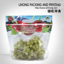 Supermarket Custom Plastic Transparent Pouch Vent Three Side Seal Clear Bag For Fruit Packaging