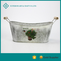 Galvanized Tin Window Box With Wooden-handle For Outdoor