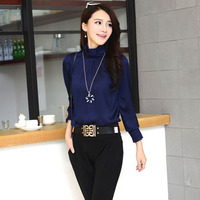 W5059 five colors luxury long sleeve high quality navy blue silk satin blouses