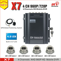 Competitive 4 channel h.264 HDD dvr and cameras for bus, car, taxi, truck, police car, auto mobile etc.mobile cctv system dvr,X7