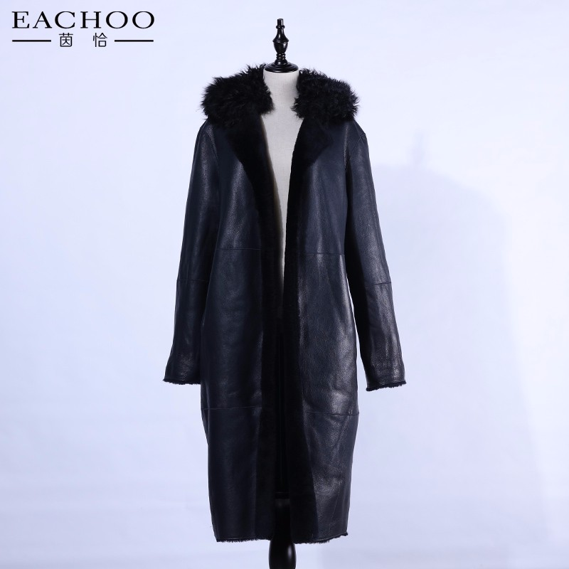 Factory direct supply black leather fur overcoat with real fur lining