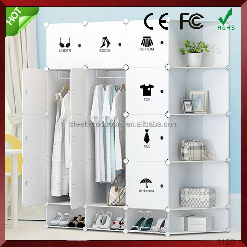 Fashion bedroom DIY plastic wardrobe cabinet