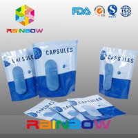 Capsules Packaging Zoplock Bag Stand Up Pouch With Resealable Zip For Supplements Packaging