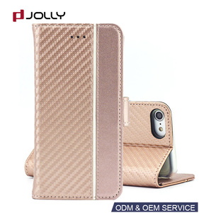 Sublimation Wallet Carbon Fiber Leather Phone Case For iphone 8 SE 2 II 2018