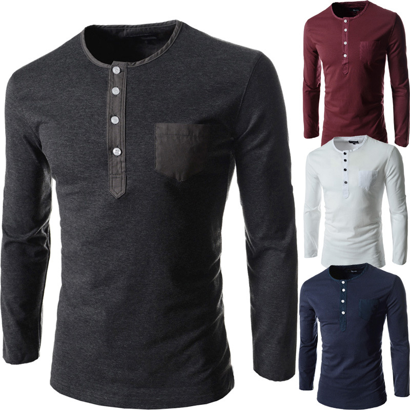 Free Shipping Lasted Fashion <strong>o</strong>-neck men's long sleeve t shirt with pocket M-2XL