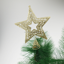 15cm Christmas Metal Hallow Star with giltter Tree Top ornaments Christmas tree decorations