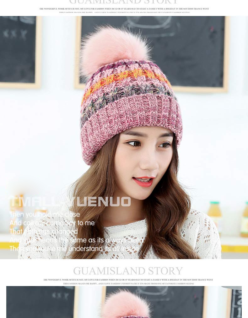 Fashion winter acrylic colorful women knitted hat with pom pom