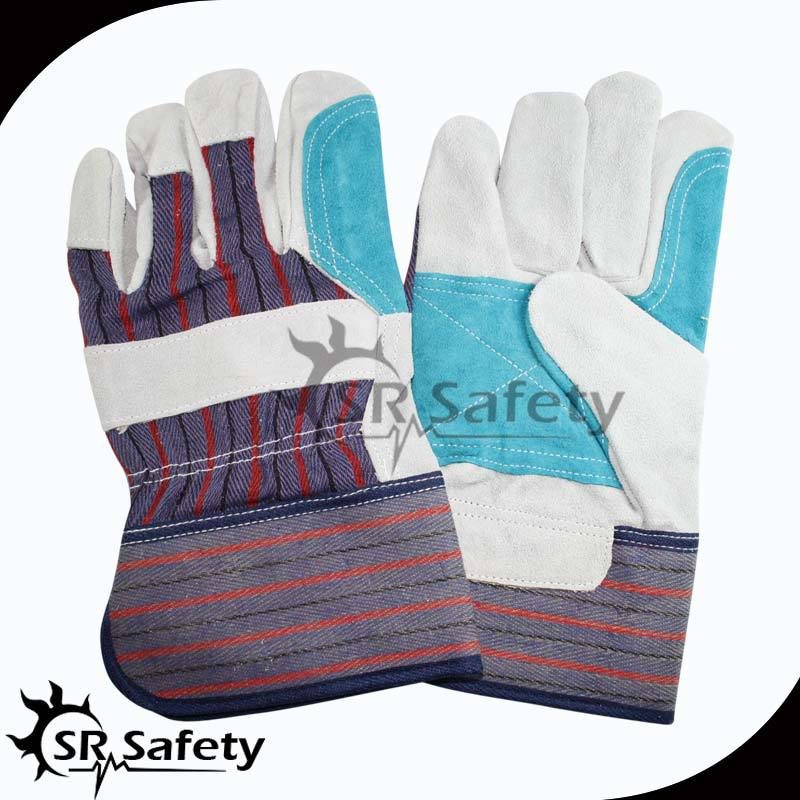 SRSAFETY natural cow split leather stripped cotton back reinforced leather glove,leather working safety gloves