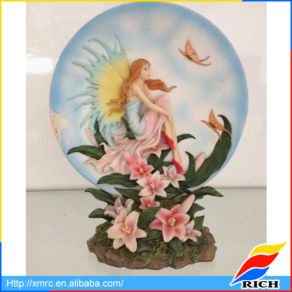 Collectible engraved flower fairy resin angel wall plaque