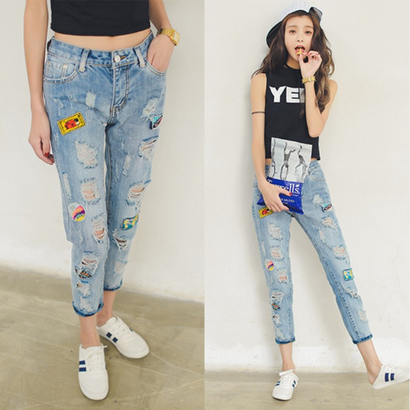 C87040A Lady Hip-Hop hole denim harem pants patch letter denim trouser
