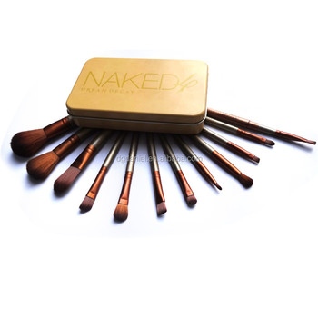 Personalized 12pcs cosmetic brush set with tin box,Wooden private label makeup brush cleaner